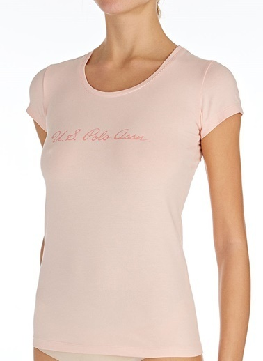 U.S. Polo Assn. Yuvarlak Yaka T-Shirt Pembe